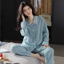 Women Pregnancy Pajamas Maternity Long Sleeve Cotton Sleepwear Pregnant Clothes Sets Pregnancy Nightgown Drop shipping