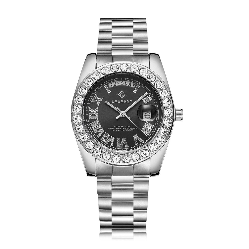 Big Diamonds Gold Watch Men Stainless Steel Day-date Men's WristWatch President Relogio Masculino Fashion Womens Quartz Watches