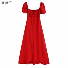 2020 kobiety w stylu vintage bufiaste rękawy pojedyncze łuszcz czerwony midi sukienka kobiet powrót elastyczna casual slim vestidos chic sukienek DS3877