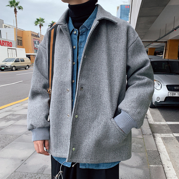 Winter Short Woolen Coat Men Warm Fashion Solid Color Casual Woolen Jacket Men Streetwear Wild Loose Woolen Coat Man Overcoat