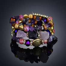 purple Multi Layered Bracelets&Bangles For Women Handmade Bohemian Bracelets Charm Friendship Beads Crystal Bracelet BT200273 vintage layered owl beads bracelet for women