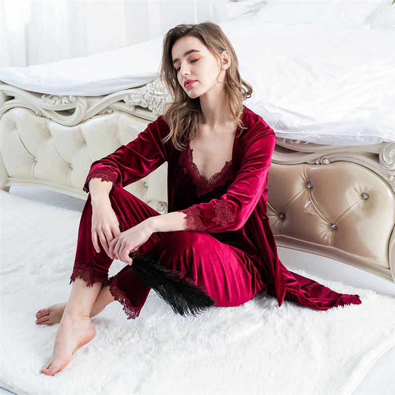 Hd6067d43c0f743d4addd4441a4b05a2ap - JULY'S SONG Gold Velvet 4 Pieces Warm Winter Pajamas Sets Women Sexy Lace Robe Pajamas Sleepwear Kit Sleeveless Nightwear
