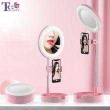 Светодиодное настольное зеркало для макияжа лампа кольцо селфи