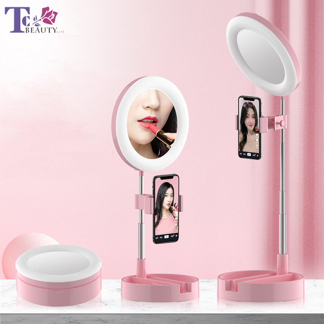 LED Desktop Makeup Mirror Selfie Light Ring Lamp Adjustable Bright For YouTube Tik Tok Live Photo Photography Studio