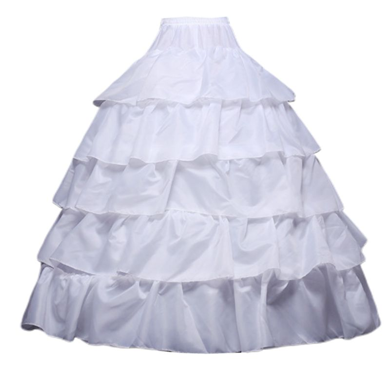 Womens Wedding Accessories Crinoline Petticoat Skirt 4 Hoops 5 Ruffles Layers Ball Gown Half Slips Underskirt For Bridal Dress
