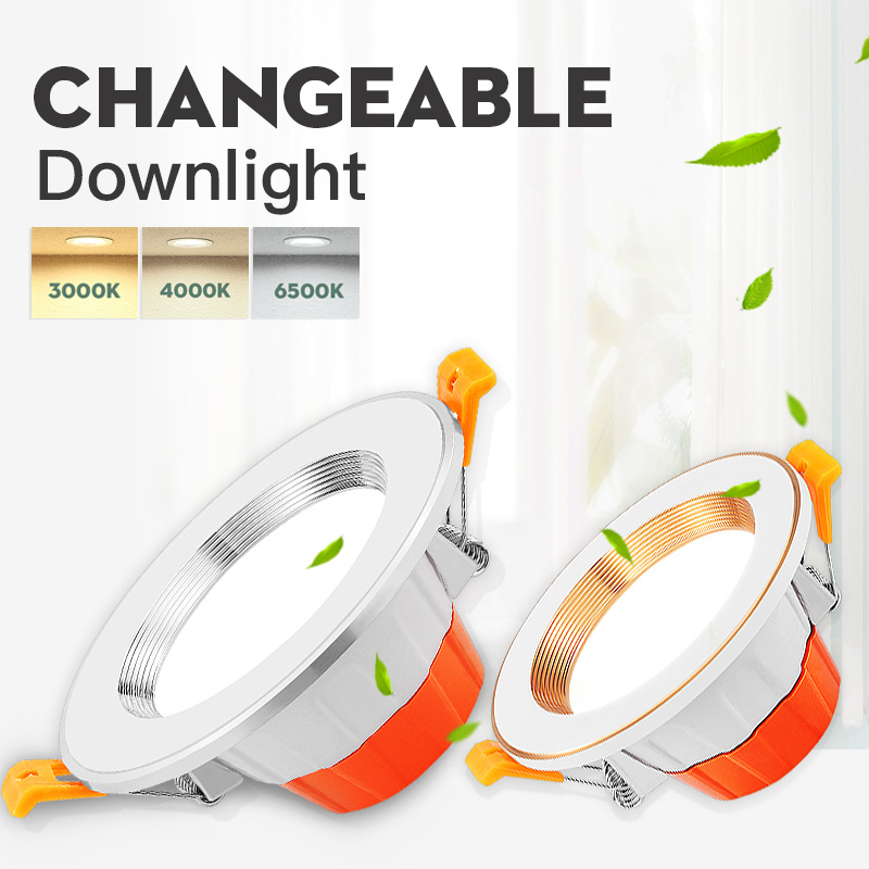 LED Downlight 5W 9W Recessed Round Down Light Ceiling Lighting 3 Color Changeable AC 220V Spot Light For Kitchen Indoor Lighting
