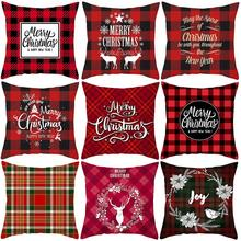 fashion Merry Christmas Letter Print Plaid Throw Pillow Case Cushion Home Decor Pattern Double Side