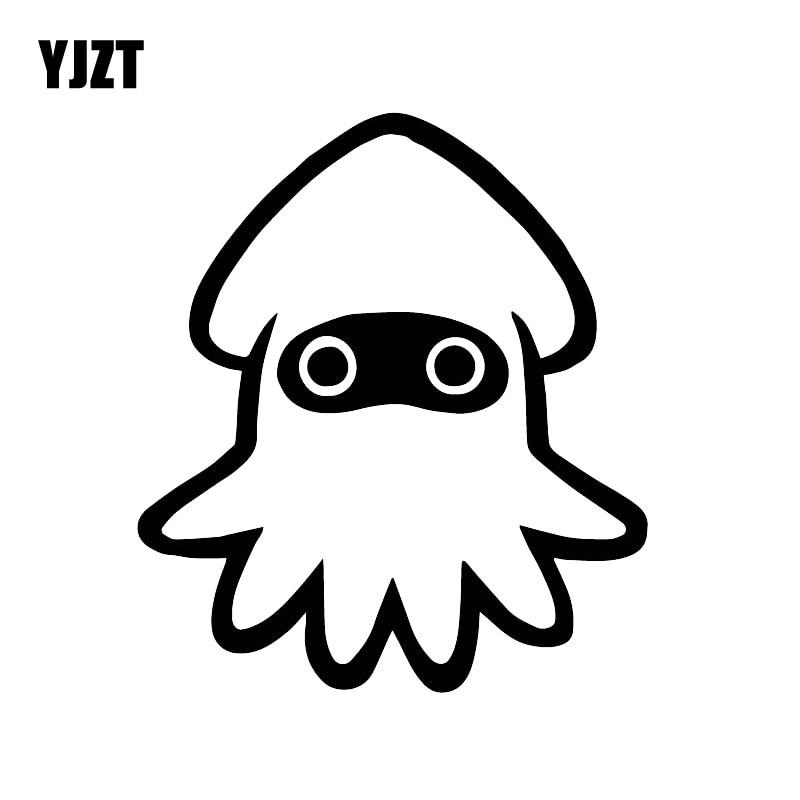 YJZT 15CM*13.2CM Cute Little Squid Cartoon Decals Family Car Warm Car Stickers Black/Silver C30-0269