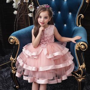 Vestido de flores para niñas, adorno para pastel, tutú, fiesta de princesa, vestido de niña 2 4 6 7 8 10 años, vestido de fiesta de cumpleaños, evento, graduación