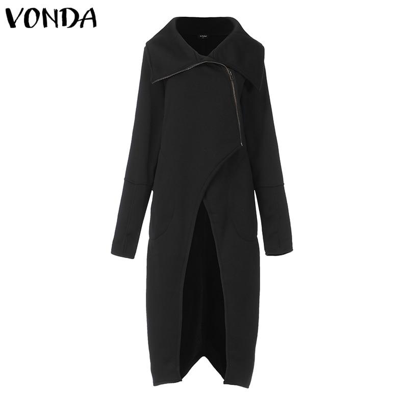 VONDA Autumn Coats Women Long Sleeve Jackets Solid Color Vintage Irregular Cardigan Female Women's Clothing 5XL Outerwears