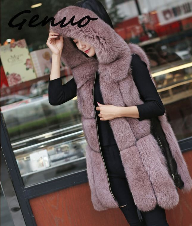 Genuo Winter Women's Fur Jacket Faux Fox Fur Vest Coat Fashion Hooded Fur Waistcoat Side Zipper Stitching Leather Warm Outwear