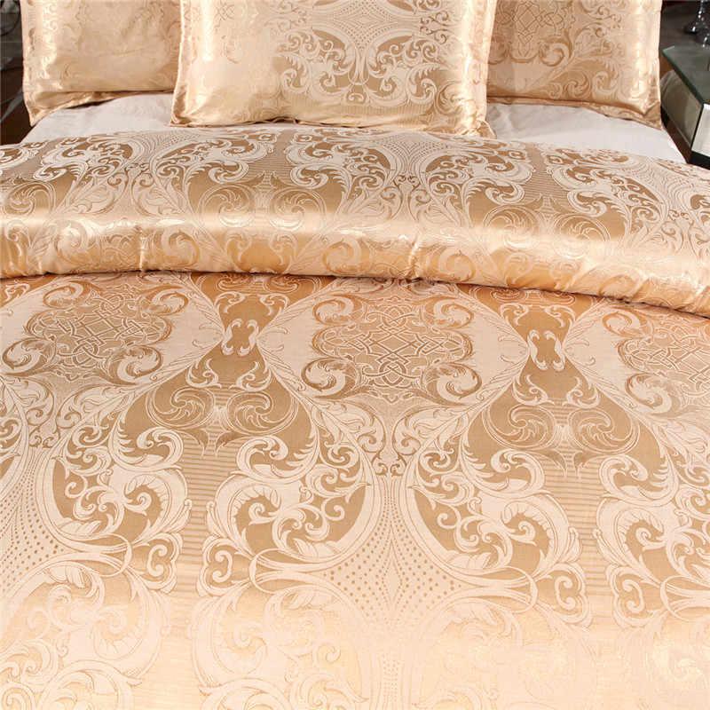 Claroom Jacquard ชุดเครื่องนอนชุด Queen King Size ผ้าคลุมเตียงผ้าไหมผ้าลินินผ้านวมคุณภาพสูงสีทอง 2/3pcs ผ้าพันคอ