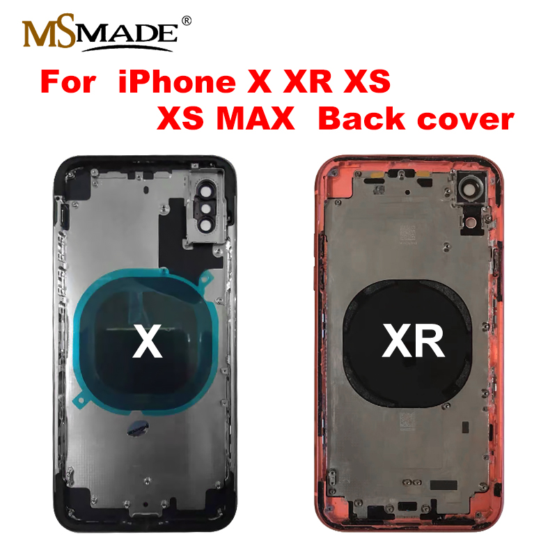 For Iphone X XR Battery Back Cover Door Rear Cover + Chassis Middle Frame For IPhone X XR Cover Full Housing Case No Flex Cable