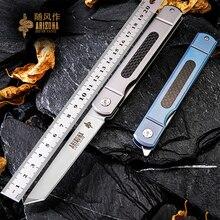 Volton Camping survival folding knife, outdoor portable self-defense knife, EDC pocket knife, titanium alloy Handle D2 blade