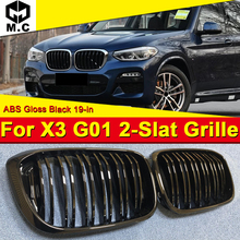 1 Pair X3 G01 Front Grille ABS Gloss Black M-Style For X3-Series 2-Slat Mesh Grills Kidney Bumper Grill 2019-in
