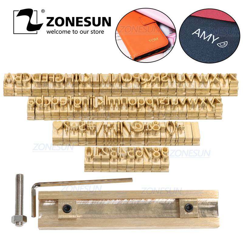 ZONESUN Brass Alphabet Letters Stamp Leather Stamp Stamping Craving Tool Branding Iron Hot Foil Stamping Machine Mold