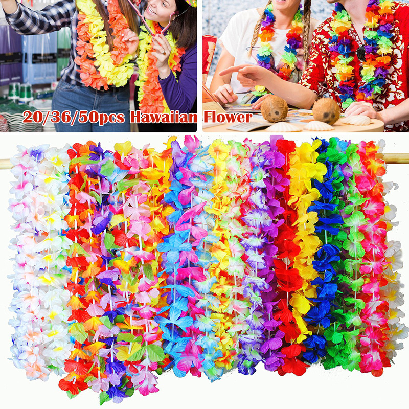 Pack Of 20/36/50pcs Hawaiian Party Flower Garlands Necklace Tropical Beach Pool Party Dress Decoration Birthday Wreath