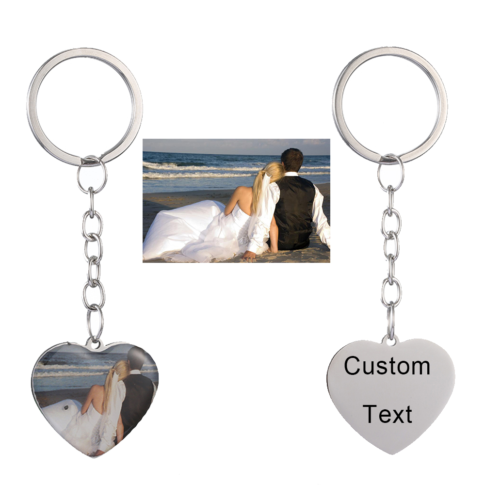 Personalized Custom Photo Name Keychain Best Friends Keyring Stainless Steel Heart Friendship Lover Jewelry Gift For Women Girl