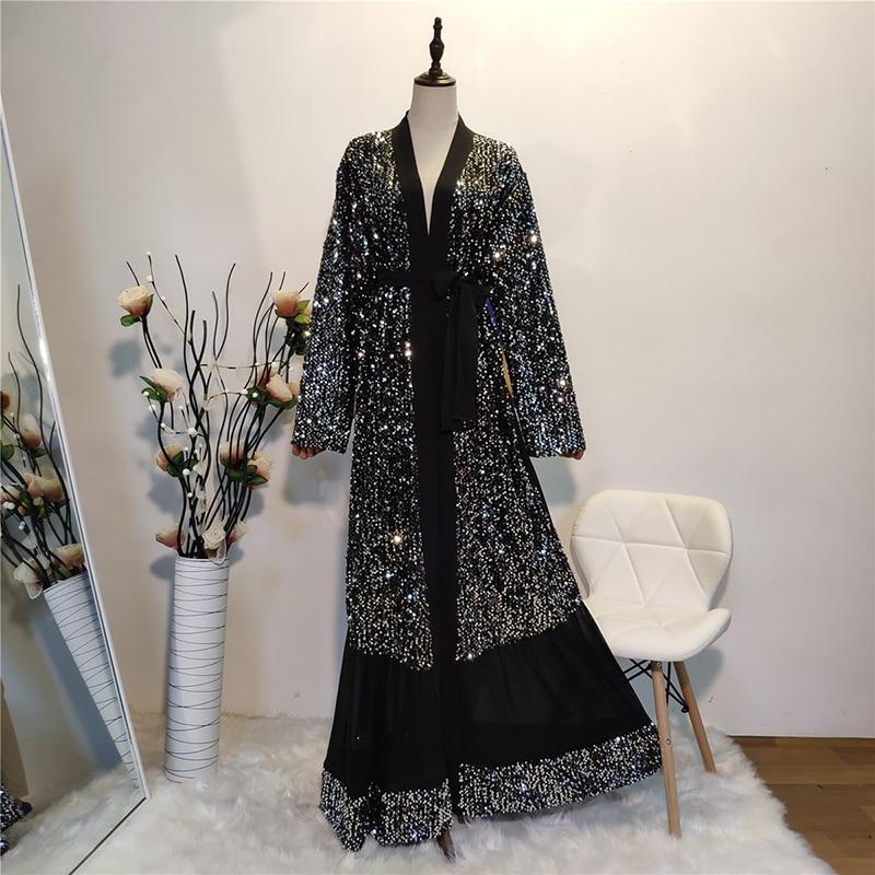 Black Eid Abaya Dubai Kaftan Kimono Cardigan Muslim Hijab Dress Women Dubai Turkish Islamic Clothing Vetement Femme Musulmane