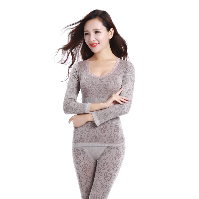 2021 Lace Thermal Underwear Sexy Ladies Clothes Winter Seamless Antibacterial Warm Intimates Print Long Johns Women Shaped Sets