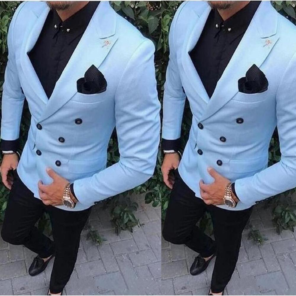 Formal Groom Tuxedos Double Breasted Light Blue Peak Lapel Groomsmen Best Man Suit Mens Wedding Suits (Jacket+Black Pants)