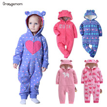 Orangemom official store 2019 spring baby rompers soft fleece girl clothes , one- pieces girls coat 1-2Y clothing set