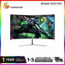 FUNHOUSE 24 дюймовый изогнутый 75 Гц 1920*1080 монитор MVA компьютер Экран дисплея полный Hdd вход 2 г-жа т HDMI-OP Com/VGA