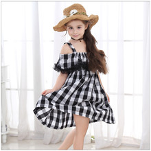 Vgiee Kids Dresses for Girls 2020 Summer Girl Dress Cotton Black and White Plaid Suspender Dress Strapless Children's Costumes tanguoant spring and summer girl dress black and gray irregular hem dress long sleeves solid dress for kids