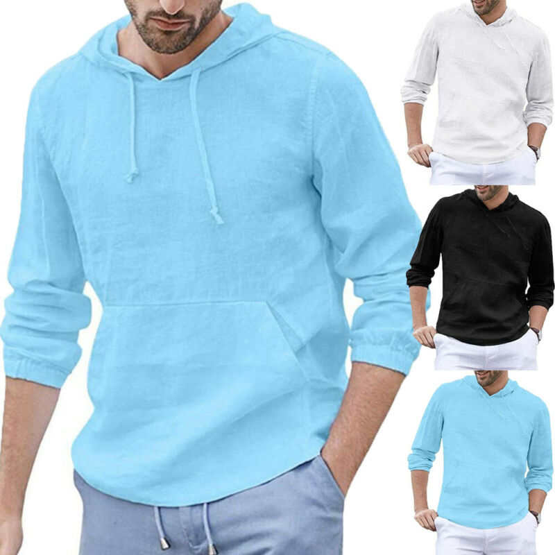 Male Outwear Sports Sweater Long Sleeve Hoodie Pullover Tops Slim Fit T-shirt