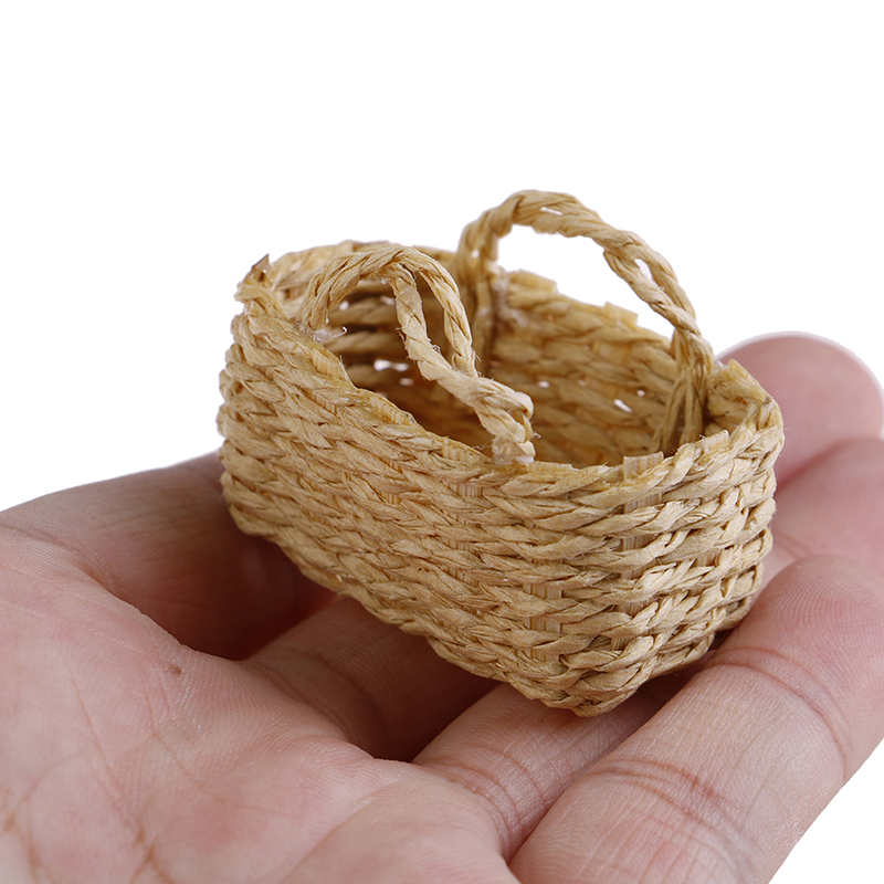 Mini 1/12 Cute Dollhouse Rattan Frame Hand-woven Vegetable Food Basket Dolls Miniature Decoration