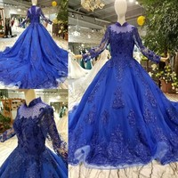 Hot9 New High Neck Long Sheelves Lace Up Button Long Trail Luxury Eppliqued Built In Bra Ball Gown Blue Bridal Wedding Dress