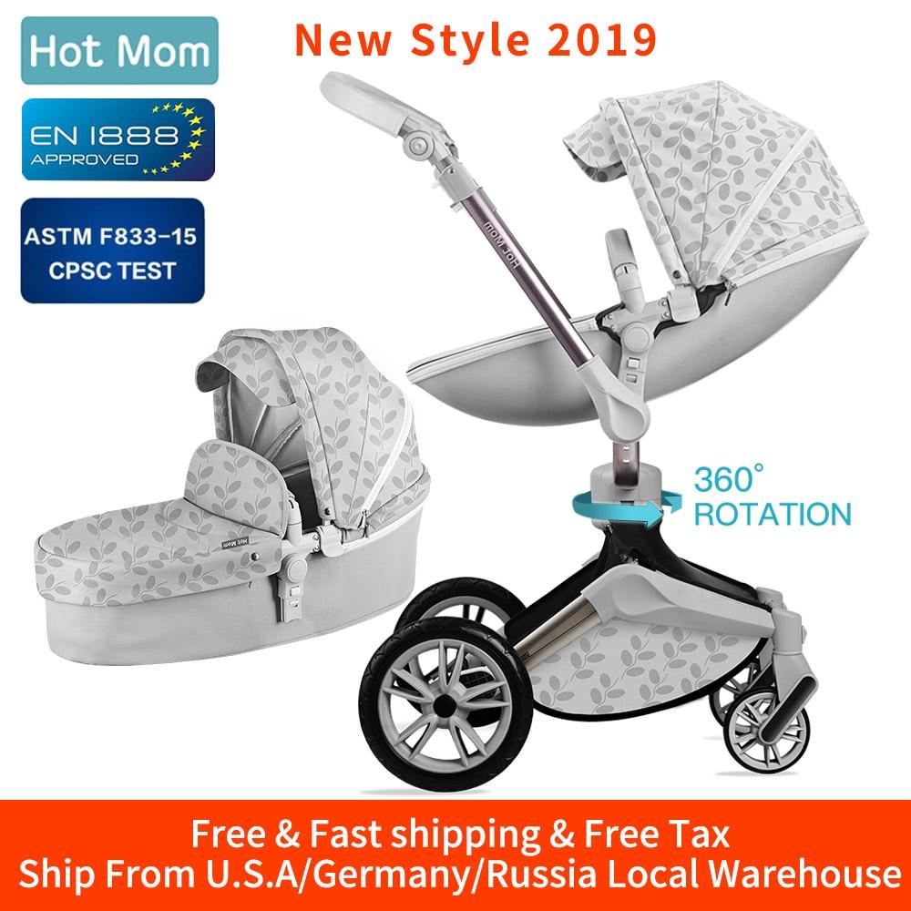 Cochecito de bebé de mamá caliente 3 en 1 Sistema de viaje con cuna Función de rotación de 360 °, cochecito de lujo con regalos gratis