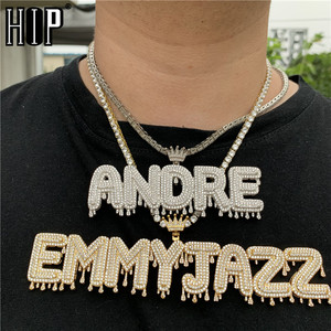 Hip Hop Custom Name Cubic Zircon Crown Drip Iced Out Bubble Letters Chain Pendants&Necklaces For Men Jewelry Cuban Tennis Chain