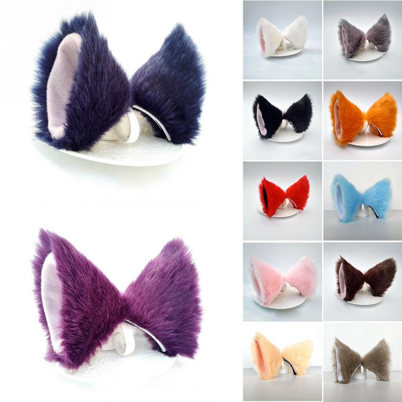 Lolita Anime Cosplay Long Fur Fox Ears Hair Clip Party Neko Cat Ear Dress Hair Accessories #734