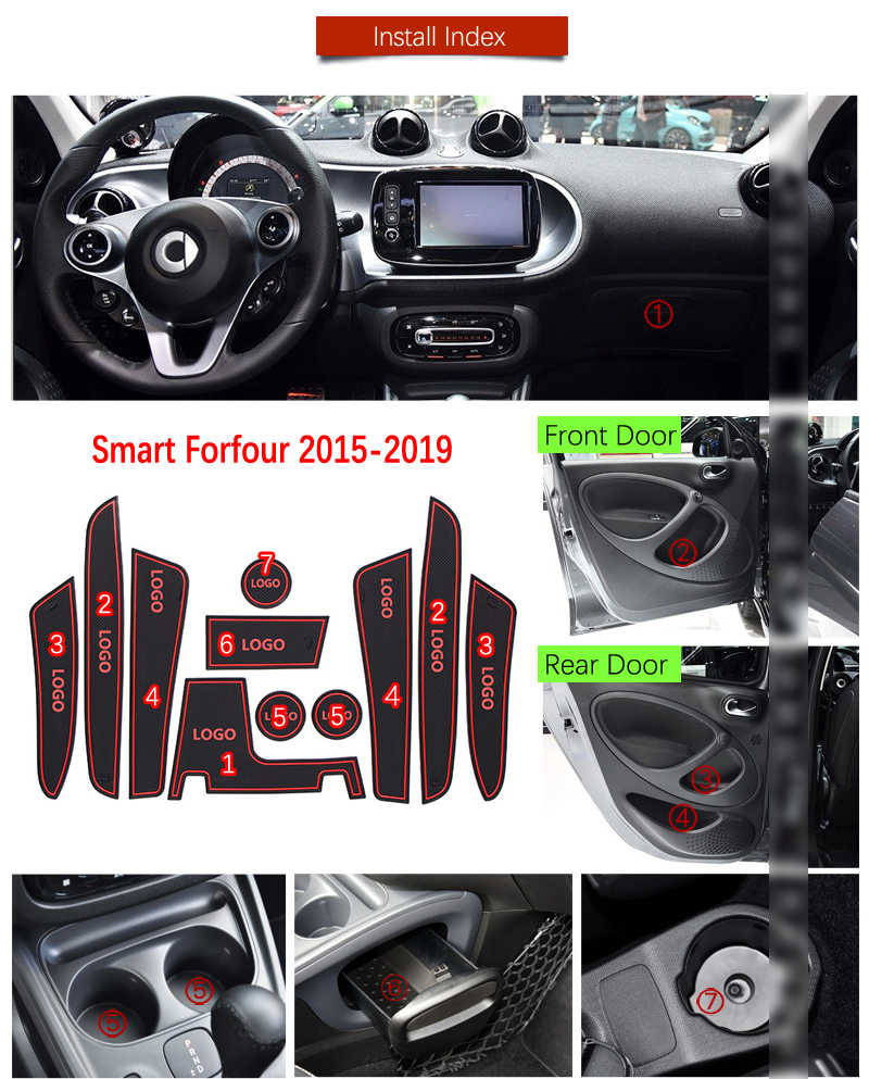 Puerta ranura Mat para Mercedes Benz Smart Fortwo cuatro W453 C453 2015, 2016, 2017, 2018, 2019 Anti-Slip Mat puerta para la montaña rusa