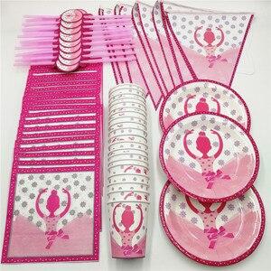 Image 1 - Розовый балетный набор для девочек, 81 шт., 20 человек, одноразовый набор посуды, декор для детского дня рождения, соломенная салфетка, тарелка, чашка, баннеры, товары для вечеринок