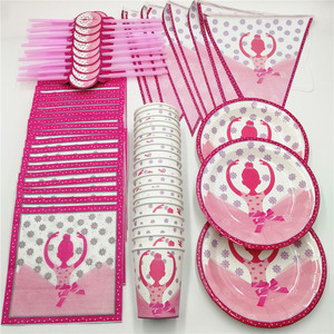 Image 1 - 81pcs 20 person Pink Ballet Girl Disposable Tableware Set Kids Birthday Party Decor Straw Napkin Plate Cup Banner Party Supplies