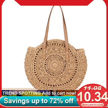 Summer Round Woven Beach Shoulder Bags for Women Rattan Bag Handmade Straw CrossBody Bag Female Message Handbag Totes Bag
