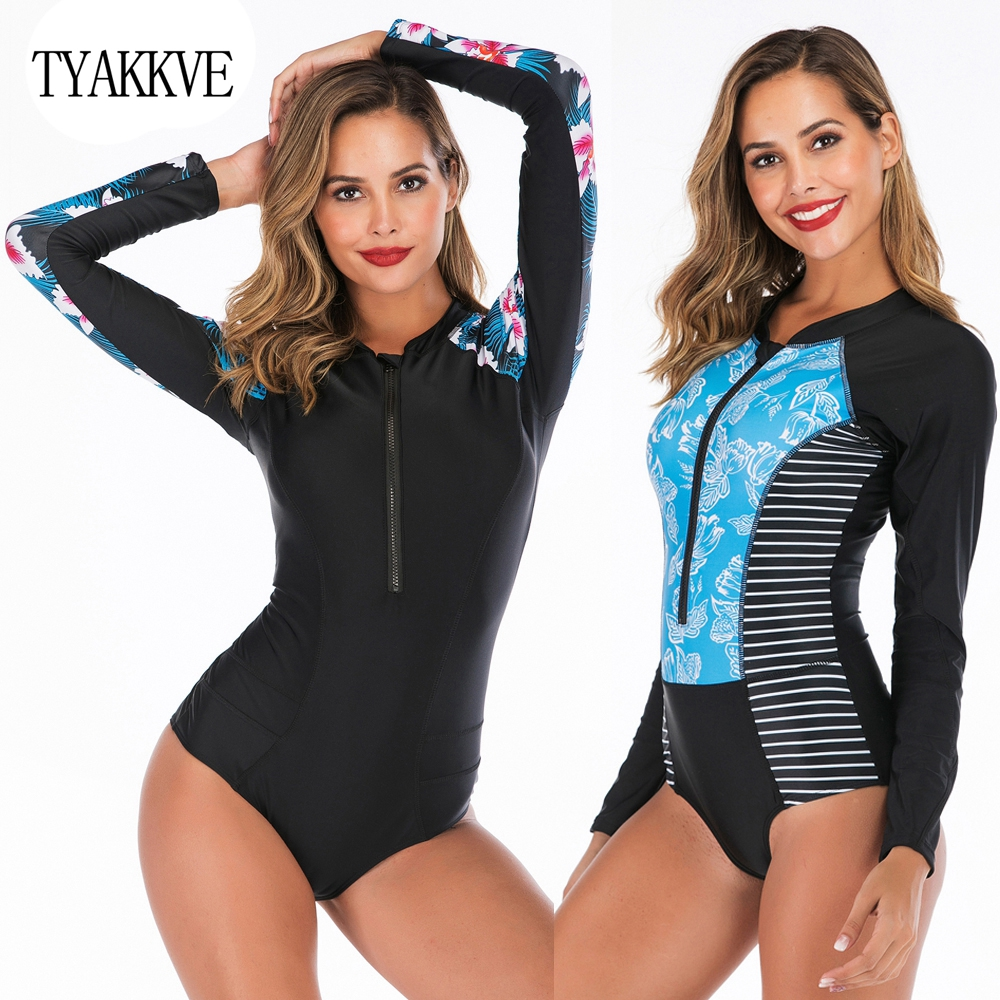 2019 Rash Guard Swimsuits Long Sleeve Surfing Swimwear Women Zipper Push Up UV Protection Swim Shirt Beach Sports Monokini XXL in Body Suits from Sports Entertainment