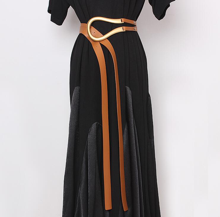 Women's Runway Fashion Pu Leather U Buckle Cummerbunds Female Dress Corsets Waistband Belts Decoration Wide Belt R2436
