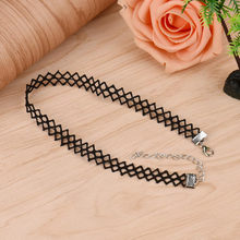 Fashion Black lace chokers necklaces for women girls Personalized Chic Necklace Wave Tattoo creative necklace gifts for party(China)