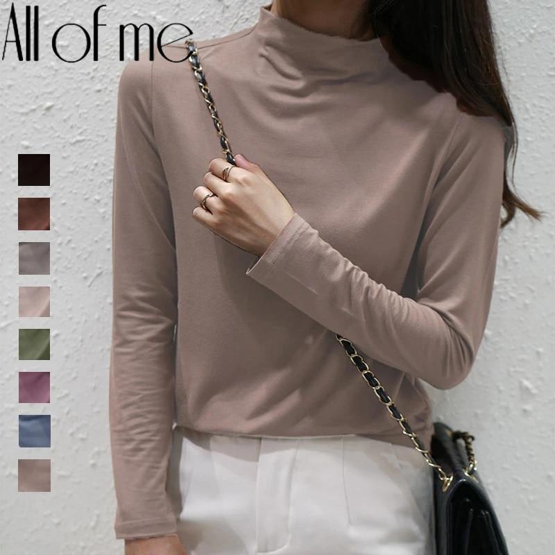 Стрейчевые женские полуводолазки, пуловеры, термо мягкая рубашка первоклассника с длинным рукавом, облегающий плотный однотонный облегающий джемпер Pull Femme