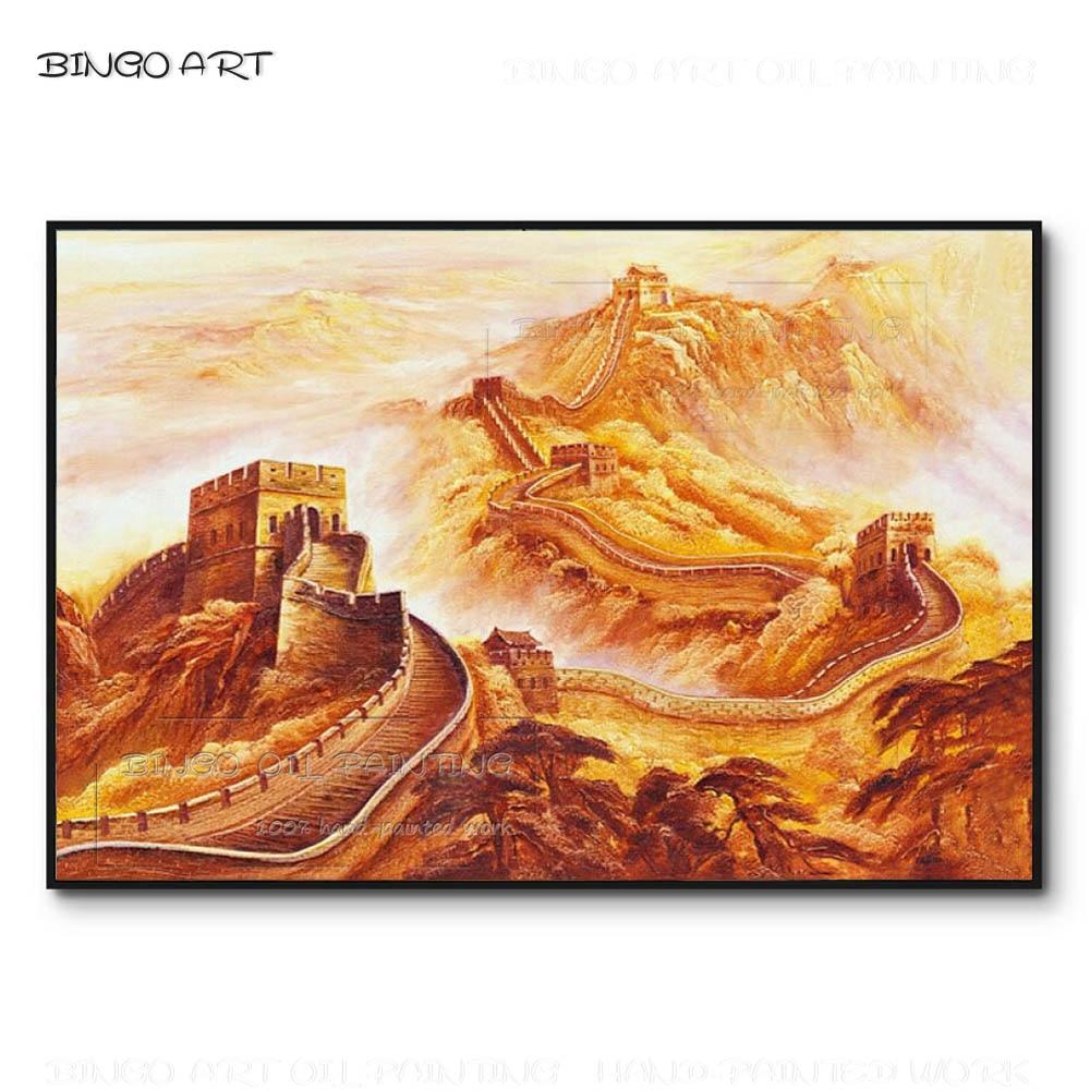 Excellent artiste peint à la main haute construction Miracle grande muraille peinture à l'huile sur toile chinois bâtiment paysage peinture à l'huile