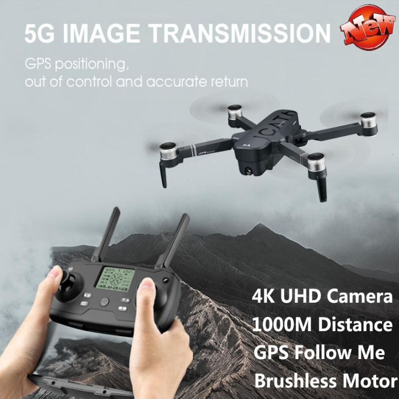 GPS 4K UHD Foldable WIFI Real Time RC Drone 5G 1000M Optical Flow Positioning GPS Auto Follow Me Electric Camera RC Quadcopter