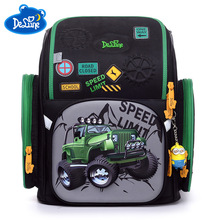 Delune Original 3D Cartoon Cars Orthopedic Backpack 6-107 Brand Schoolbag for Boys Grade 1-3 Student