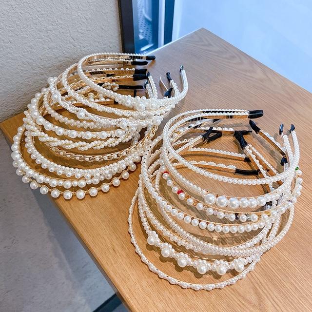 Gold Pearl Hairbands For Women Hair Accessories Designer Band Flower Hoops Bow Wedding Headband Metal Bridal Headwear Bands Clip 4