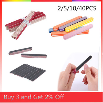 Nail File Manicure Pedicure Buffer Sanding Files Set Wood Crescent Sandpaper Grit Nail Art Tool Double Sided Thick Stick image