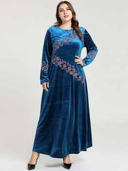 Modest Fashion Embroidery Turkish Dresses Muslim Evening Dress