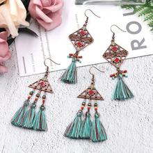 Long Green Cotton Tassel Earrings  Antique Copper Triangle Square Charm Dangle Drop Ethnic Boho Women Jewelry
