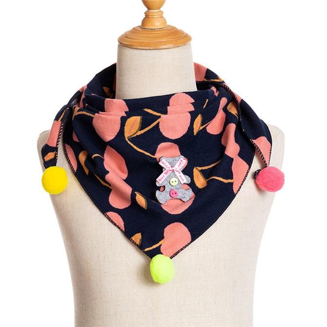Весенние клетчатые треугольные шарфы в горошек для маленьких девочек; осенне-зимняя шаль для мальчиков и девочек; Детские хлопковые воротники; теплый детский шейный платок - Цвет: C2